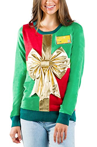 Tipsy Elves Ugly Christmas Sweater for Women - Cute Holiday Wrapping Paper Present Pullover Size Small
