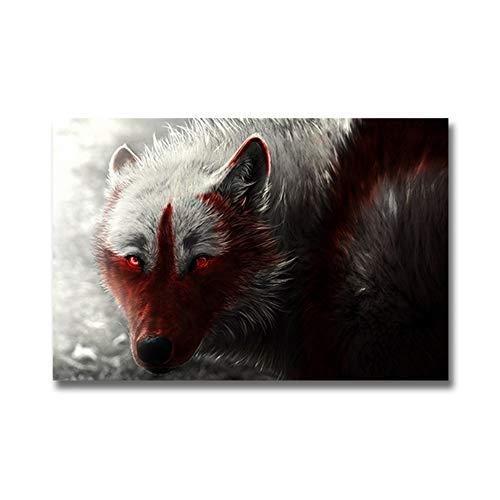Posters en prints canvas kunst schilderkunst schilderijen Pop Art Modern zwart-wit- Wolfstier-woonkamer 70x90 cm/27.6
