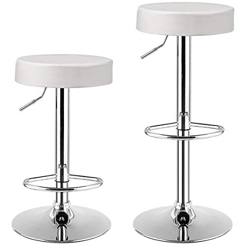 COSTWAY Bar Stools Set of 2, Modern Swivel Backless Round Barstool, PU Leather Armless bar Chair with Height Adjustable, Chrome Footrest, Sturdy Metal Frame for Kitchen Bistro Pub (White, 2 pcs)