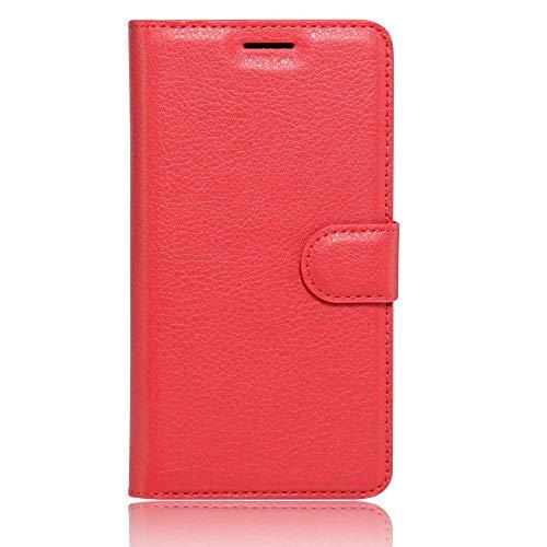 Sangrl Leder Lederhülle Schutzhülle Für LG K5, Wallet Tasche Für LG K5, mit Halterungsfunktion Kartenfächer Flip Hülle Rot
