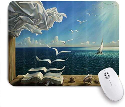 Maus Matte Maus Pad Buchseite Möwe Meer Segelboot Magie Ozean Welle Sonnenstrahlen maßgeschneiderte Kunst Mauspad rutschfeste Gummibasis für Computer Laptop Schreibtisch Schreibtischzubehör