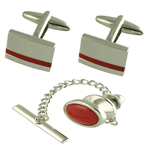 Geschenk Set Manschettenknöpfe rote Jaspis Oval Tie Tac