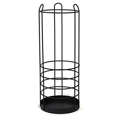 onSTAGE -Tall Umbrella Stand Holder-Large Black Iron Umbrella Rack for Home and Office Deco, Round Metal Umbrella Basket, Big Wire Entryway Storage for Canes Walking Sticks Umbrellas, Modern Simple