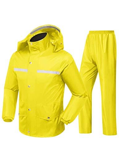 Regenmäntel wasserdichte Jacke atmungsaktiv mit Kapuze Regenmantel Regen Hosenanzug Männer und Frauen im Freien Arbeit Jagdreiten (Size : Large)