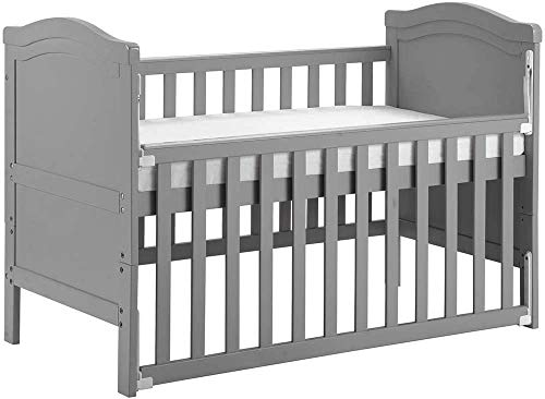 Tazzaka Wooden Baby Cot, Grey 2-in-1 Toddler Bed with Foam Mattress, Converts into Day Bed Safety Wooden Barrier 3 Position Adjustable, L124 x W65 x H85 cm 【UK STOCK】