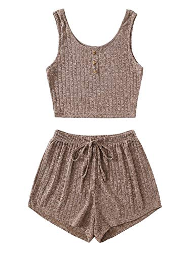 SheIn Women's 2 Piece Sleeveless Button Crop Tank Tops and Shorts Lounge Set Mocha Brown Large