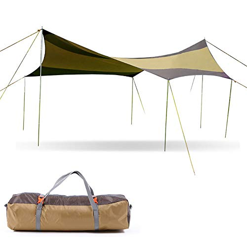 APENCHREN Vouwwagen/Regenwerende luifel, Camping Tent, Gazebo Event Shelter, 6-10 personen Grote Event Tent, Draagbare Sun Shelter 500x500x250cm(16.4x16.4x8.2ft) kaki