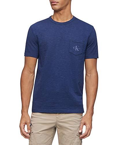 Calvin Klein Men's Short Sleeve Casual Pocket Logo Monogram T-Shirt, Peacoat, Medium