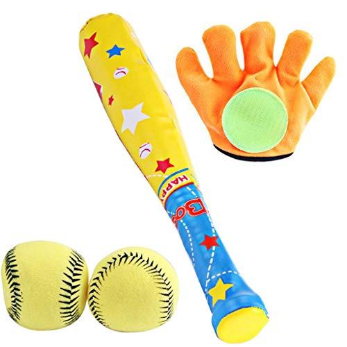 chiwanji Juego de Béisbol de Espuma Suave para Niños en Interiores Y Exteriores 2 Pelotas 1 Raqueta 1 Golves