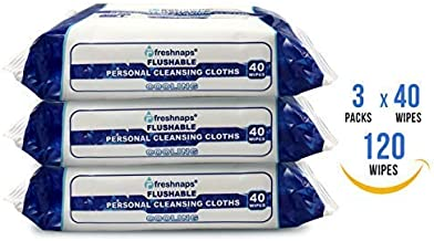 Premium Formulations - FreshNaps - Flushable - Personal Cleansing Wipes with Cooling Witch Hazel - 3 Packs X 40 Wipes = 120 Wipes