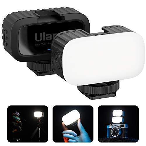 Ultra Mini Luz LED de vídeo, ULANZI VL30 Led Luz recargablede bolsillo 5600K con softbox, 4 niveles de brillo lámpara de selfie con soporte de zapata fría para teléfonos, Goprocámara , Osmopocket
