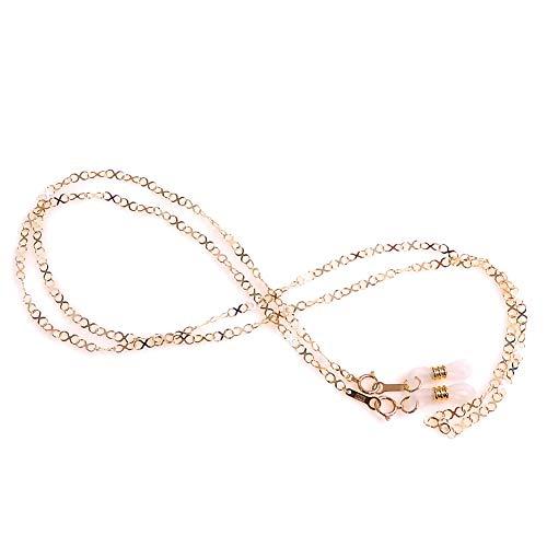 10金 メガネチェーン K10 インフィニティ エックス ネックレスにもなる 2WAY 眼鏡チェーン めがねチェーン 風水カラー 金 ゴールド ケース付き