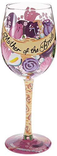 Lolita Mother of the Bride Artisan Made Hand Painted Wine Glass