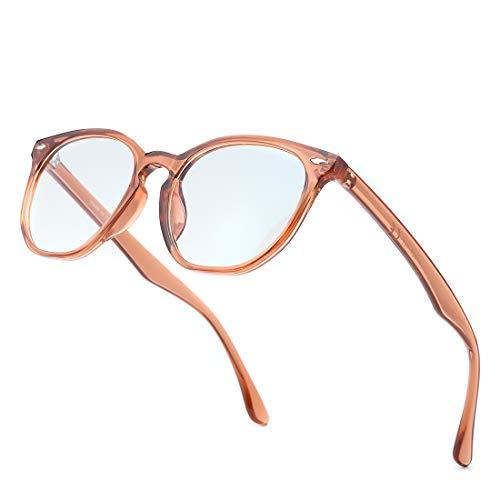 kimorn Blaulichtfilter Brillen Ohne Sehstärke Damen Herren Computer Gaming Brillen Anti Müdigkeit Leicht Retro Brillengestelle K0787 (Transparentes Braun Rahmen/Blaulichtblockierung Linse)
