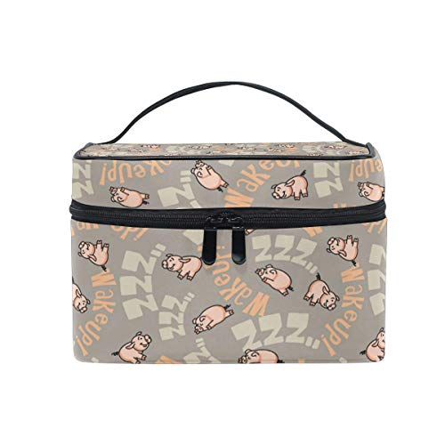 Travel Cosmetic Bag Cute Pig Sleeping Letter Toiletry Makeup Bag Pouch Tote Case Organizer Storage Tools Jewelry for Women Girls