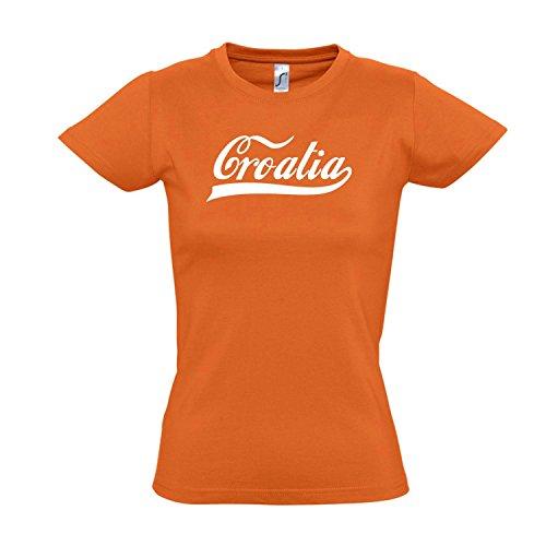 Damen T-Shirt - Kroatien Oldschool Croatia LÄNDERSHIRT EM/WM Fan Trikot S-XXL, Orange - weiß, S