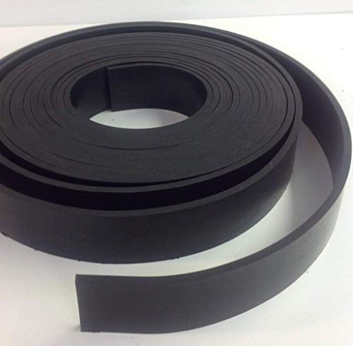 "1/8"" (.125"") Thick x 2"" (2.000"") Wide x 25 ft (300"") Long - Neoprene Rubber Strip– Perfect for Gaskets, Liners, Weather Stripping, etc. - Commercial Grade 65 Durometer +/- 5 Medium Hardness"