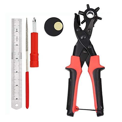 Perforadora para cinturón de perforación, herramienta de alicate giratorio resistente con 2 placas adicionales y regla, varios tamaños para manualidades, tarjetas, goma