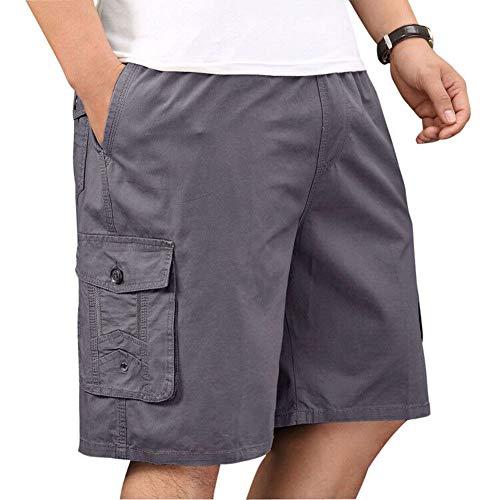 Men's Cotton Full Elastic Waist Performance Drawstring Baseline Cargo Shorts Grey 44