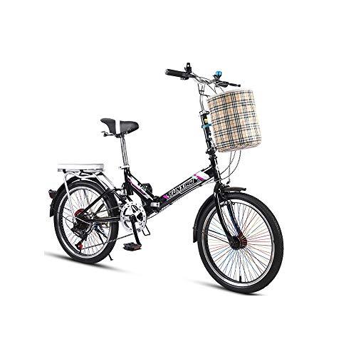 LRHD Estudiante de educación Superior de Metal de 20 Pulgadas Bicicleta Plegable de 7 velocidades de Ciclo de cercanías Plegable Bicicleta de la Bici del Coche de Las Mujeres fácil Llevar Ligera Alto