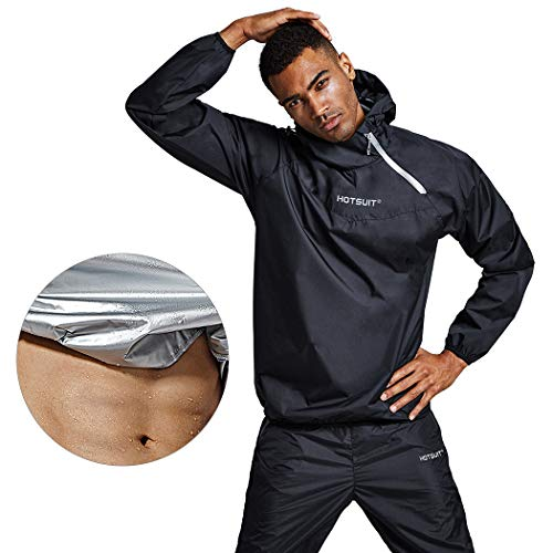 HOTSUIT Men Sauna-Suit-Jackets Sweat Weight-Loss - Anti Rip Gym Workout Exercise Sauna Suits, Black, L