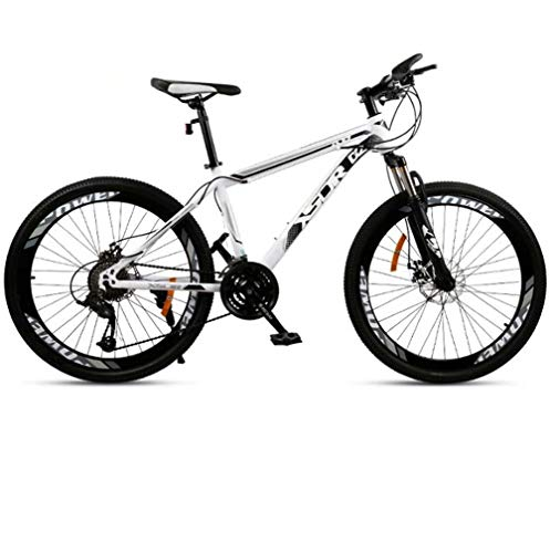 Adulti Mountain Bike, Doppio Freno a Disco in Acciaio/High-Carbonio Telaio Biciclette, Beach motoslitta Bicicletta, 24 Pollici Ruote,Bianca,21 Speed