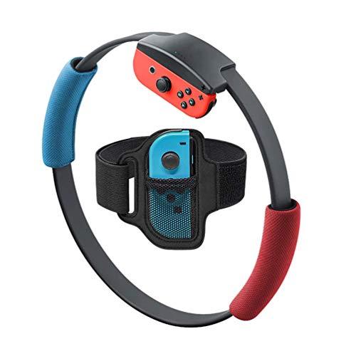 1 correa de pierna y 2 agarres de anillo para Nintendo Switch Fit Adventure Game, antideslizantes y correa de pierna ajustable compatible con interruptor Fitness Yoga Ring con accesorios (rojo azul)