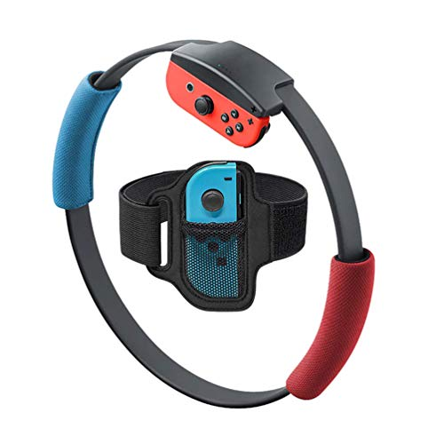 1 Leg Strap and 2 Ring-Con Grips Ring-Con for Nintendo Switch Fit Adventure Game,Non-Slip Grips and Adjustable Leg Strap Compatible with Switch Fitness Yoga Ring Con Accessorise (Red Blue)