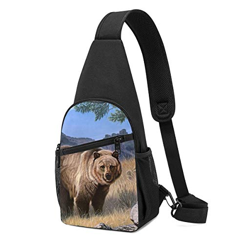 Risating Sling Bag, Brown Bears Animals Anti-scratch Unbalance Backpack Crossboby Shoulder Pack for Outdoor Cycling/Running/Hiking