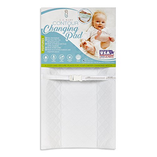 "LA Baby Waterproof Contour Changing Pad, 30"" - Made in USA. Easy to Clean w/Non-Skid Bottom, Safety Strap, Fits All Standard Changing Tables/Dresser Tops for Best Infant Diaper Change"