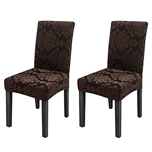 Stretchy Stuhlbezüge für Esszimmerstühle, Stretch Spandex mit Gummiband Stuhlbezug, Large Dining Chair Schonbezüge für Restaurant Hotel Party Bankett (4 Pack),Braun