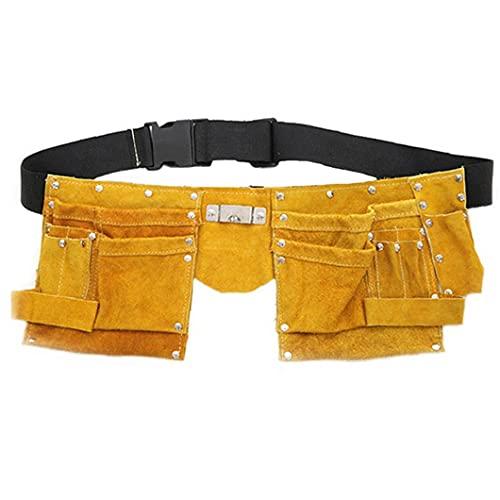 Cinturón de herramientas bolsa de cuero bolsa de bolsillo del delantal ajustable para trabajo pesado para el bricolaje electricista carpintero Joiner Hombres Mujeres Hardware Herramientas