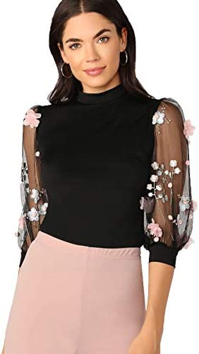 Romwe Women s Summer Short Sleeve Mock Neck Casual Blouse Tops Lace Black X Large product image
