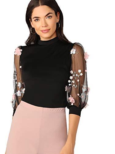 Romwe Women's Summer Short Sleeve Mock Neck Casual Blouse Tops Lace Black X-Large