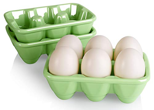 AVLA Set of 3 Ceramic 6 Cup Egg Tray - Half Dozen Porcelain Egg Holder Decorative Crate Eggs Dispenser Container Keeper Storage Organizer for Kitchen Restaurant Fridge Countertop Display, Green
