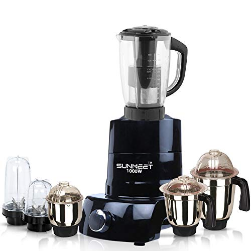 Sunmeet Black Color 1000Watts Mixer Juicer Grinder with 6 Jar (2 Bullet Jar, 1 Juicer Jar with Filter, 1 Large Jar, 1 Medium Jar and 1 Chutney Jar) SA20-SUN-225 Make in India