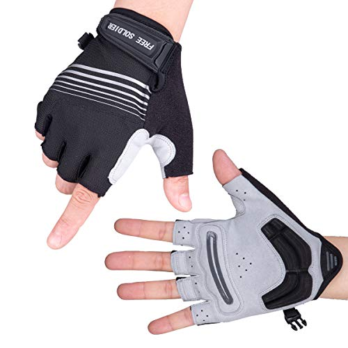 FREE SOLDIER Full Finger/Fingerless Padded Cycling Gloves For Men Breathable Anti-Slip Shock-Absorbing Gloves for Outdoor Mountain Bike Motorcycle MTB(Half Finger/Black,L)