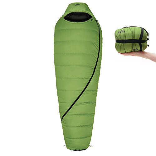 Qeedo Daunen-Schlafsack Asaka (2 Größen: M & L) / 6°C Komforttemperatur (3-Saison) / Mumienschlafsack extrem klein & leicht (Gr.M: 850g) / inkl. Kompressionssack + Aufbewahrungstasche - grün [Medium]