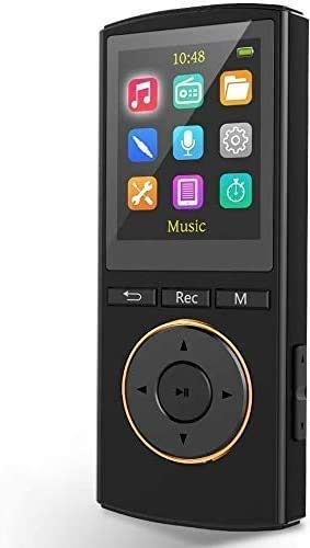 MP3 Player,MP3 Player with Bluetooth 5.0 Supports 1600 Song and 1800 Minutes of Playtime,Recording Pen Bluetooth MP3 Player 2-in-1,FM Radio,Lightweight 1.25 oz for Running(Black)