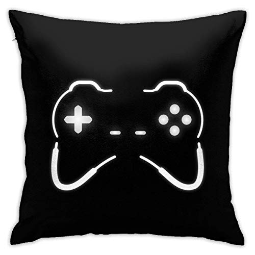 Black White Game Controller Throw Pillow Covers Decorative 18x18 Inch Pillowcase Square Cushion Cases for Home Sofa Bedroom Livingroom
