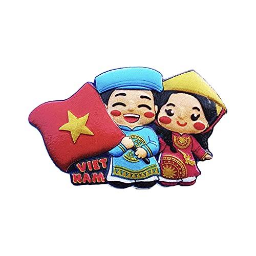 Vietnam - Imán para nevera con bandera 3D, hecho a mano para decoración del hogar y la cocina Vietnam
