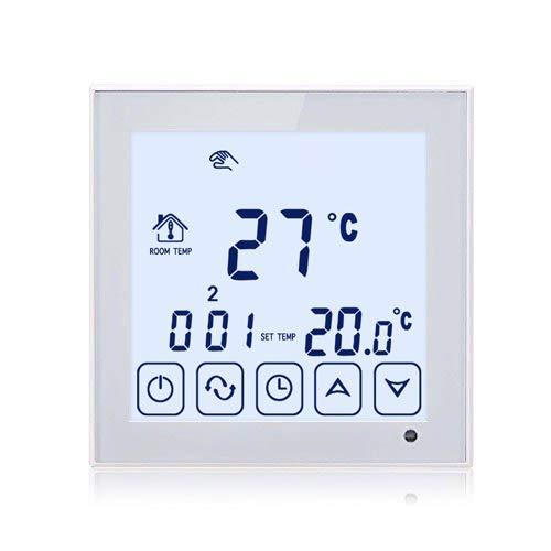 Beok TDS23-EP Programmierbarer elektrischer Fußbodenheizungs Thermostat, weißer Rahmen und Hintergrundbeleuchtung Digitaler LCD Touchscreen Raumtemperaturregler mit 300cm externem Fußbodenfühler