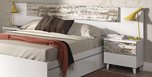 Abitti Cabezal con 2 mesitas en Blanco Brillo y Vintage para Dormitorio de Matrimonio, 100x247x34cm