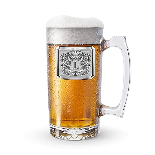 Fine Occasion Customized Beer Mug & Stein with Handle- Personalized Large Beer Glass Freezer Safe with Hand Crafted Pewter Monogram Initial Letter L(25 oz)