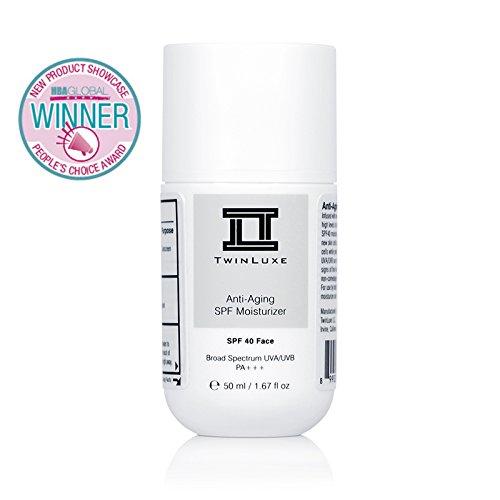 TwinLuxe Anti-Aging SPF 40 Face Moisturizer Sunscreen, Broad Spectrum, non-greasy, ultra-light, paraben free for sensitive skin