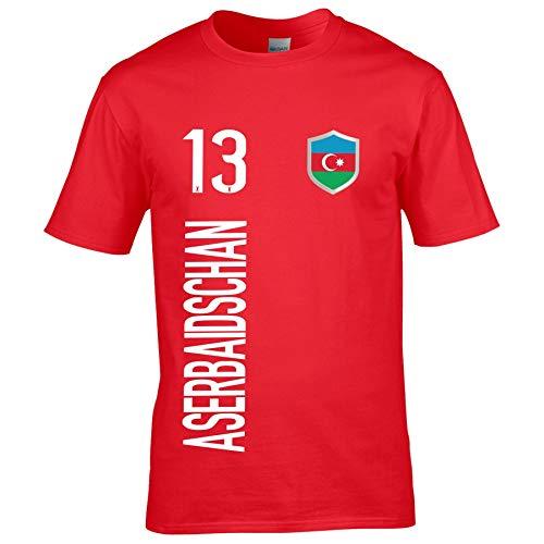 FanShirts4u Kinder Fanshirt Trikot Jersey ASERBAIDSCHAN T-Shirt inkl. Druck Wunschname u. Wunschnummer EM WM (3/4 Jahre 98-104 cm, ASERBAIDSCHAN/Rot)