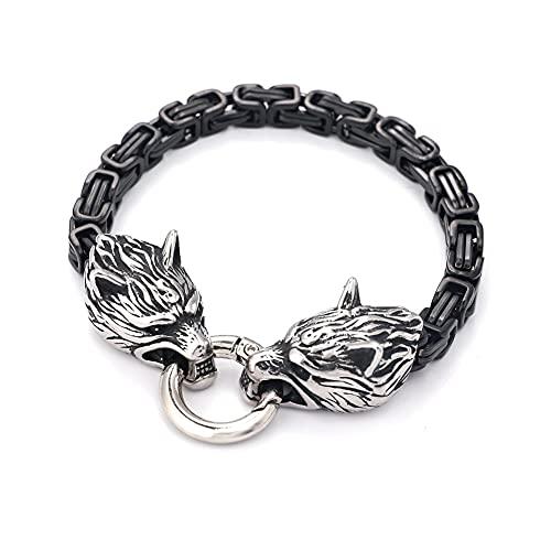 Viking Odin Double Wolf Head Kings Chain Bracelet, Hombres Acero Inoxidable Fenrir Pesado Bizantino Cadena Pulsera, Gótico Celta Pagan Protección Joyería (Color : Silver, Size : 23CM)