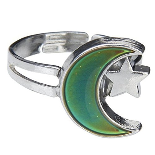 Jude Jewelers Adjustable Color Changing Mood Ring Inspirational Mystique Marble (Star Moon, Adjustable)