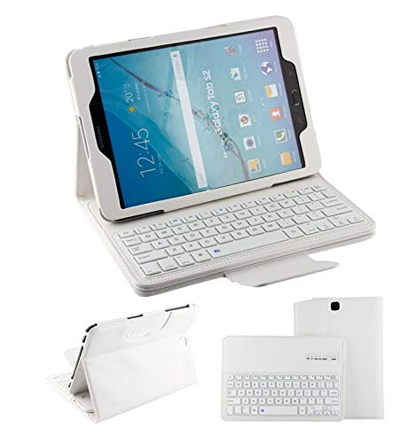 FANG Keyboard Case for Samsung Galaxy Tabs2 T810/550 9.7 Inch, Slim PU Leather Case Cover Detachable Magnetically Keyboard for Samsung Galaxy Tabs2 T810/550 9.7 Inch,White