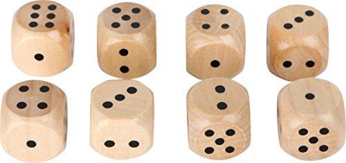 Small Foot 10530 Holz im 8er Set, Klassische, naturfarbene Würfel für jedes Würfelspiel geeignet